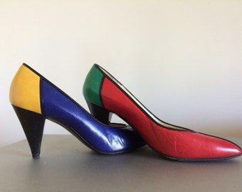 1980's Bruno Magli Leather Pumps – Memphis/Mondrian colored – Made in Italy – Vintage High Heel Shoes