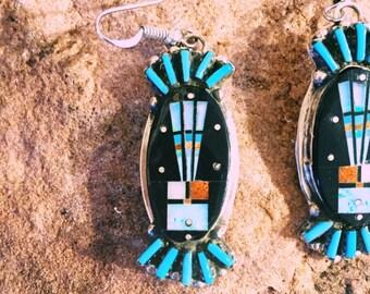 Handmade Native American silver earrings