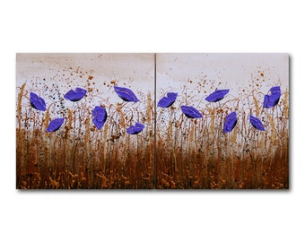 """Metal Wall Art, Metallic Painting, Floral Wall Art, Gold, Purple, Textured, Abstract Floral, """"In The Wilderness"""" 16x32"""" by SFBFineArt"""