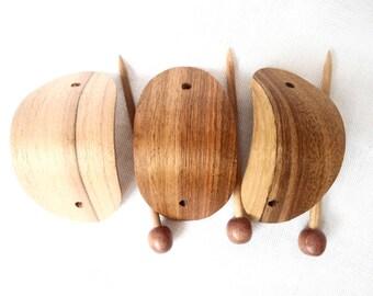 Set 3 pcs Brown Wooden Hair Wooden Hair Stick Clip