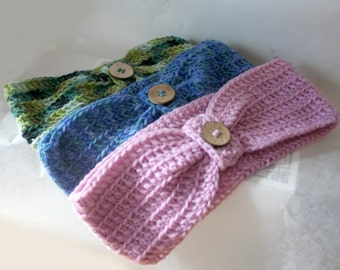 Headband , Head Band , Crochet pattern , Wool Headband with button