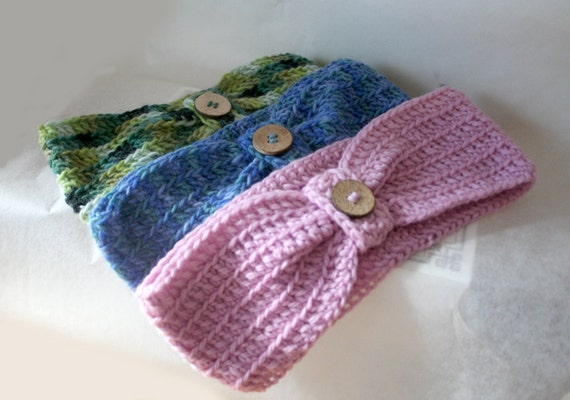 Headband Head Band Crochet Pattern Wool Headband With Button