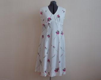 Vintage 1970's White Flowered Empire Waist Dress