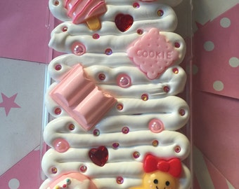 Pink and Red Kawaii iPhone 6 Gingerbread Lady Case / Fake Whipped Decoden Case / Deco Whip Fake Cream Custom Case
