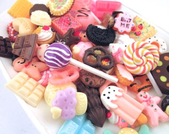 50pc LARGE Assorted Decoden Sweets Kawaii Cabochons (25-30mm)