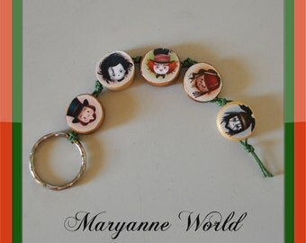 Johnny Depp inspired keychain - Willy Wonka - Mad Hatter - Jack Sparrow - Tonto - The lone ranger - Edward scissorhands