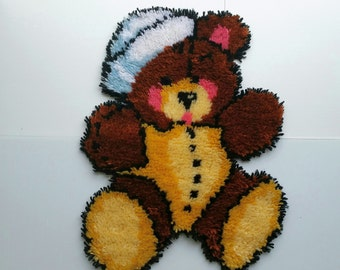 Flat Rug pile teddy bear/ hand made/ great for a wall hanging, new rug or cushion