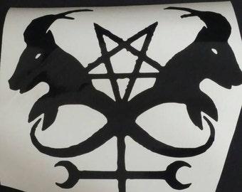 Double satanic goats decal sticker