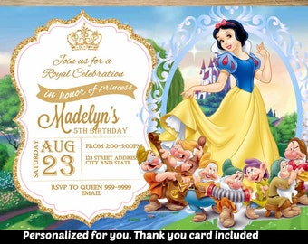 SUMMER SPECIAL- Snow white Birthday Invitation,Snow white Invitation,Snow white Invite,Birthday Invitation,Snow white, Princess
