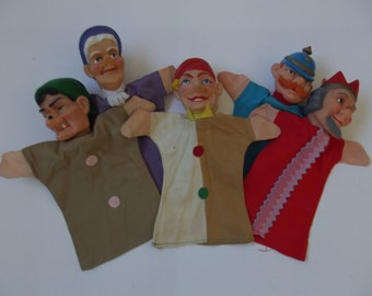 vintage hand puppets, Punch and Judy puppets, set of 5