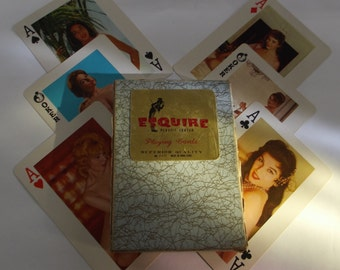 vintge 1950s jumbo sized pin-up playing cards, Esquire naughty cards