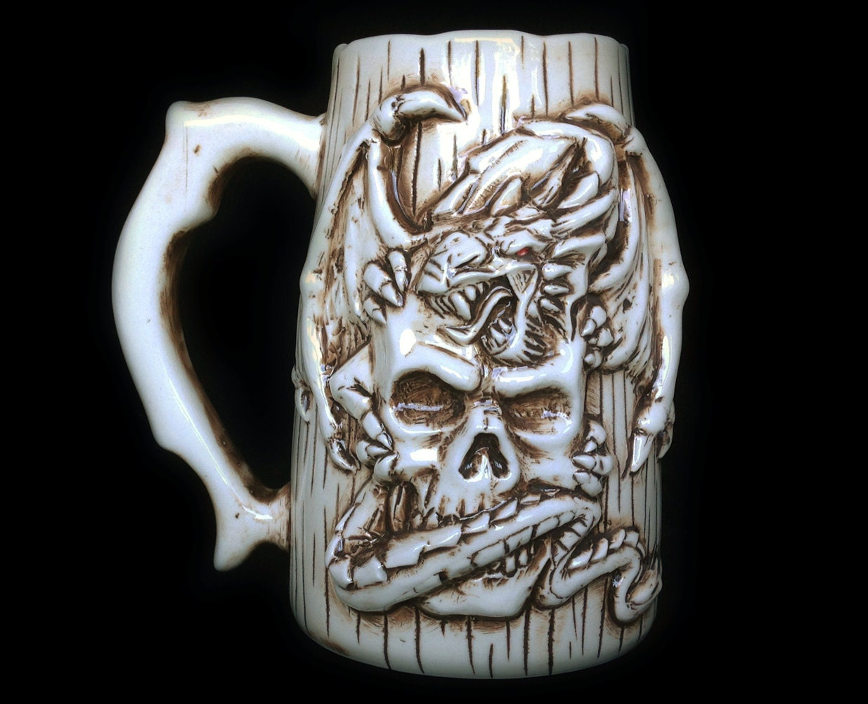 Dragon And Skull Beer Mug Handmade Ceramic Porcelain