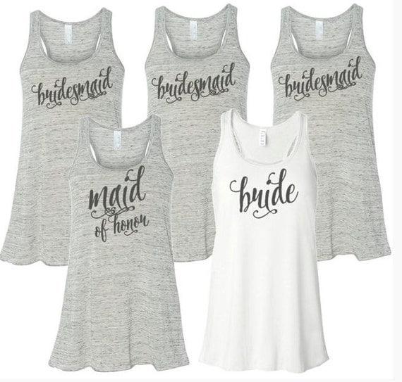 Items similar to bridal party tank tops custom tanks for for Novelty bride wedding dress t shirt