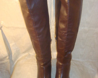 Brown Leather Charles David Knee Boots 5 1/2B