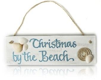 Beach Christmas Wood Plaque