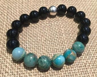 Turquoise stretch bracelet, gemstone stacking bracelet, bead stretch bracelet, Onyx & Turquoise jasper, simple boho beaded stretch bracelet