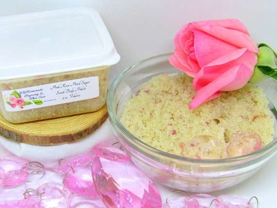 Pink Rose Petal Sugar Scrub Body Polish - 2 Oz