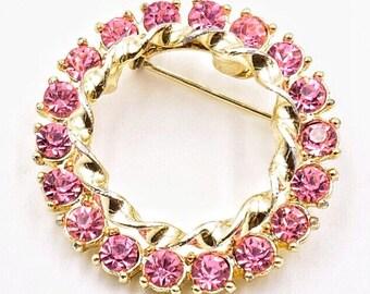 Pink rhinestone brooch, rhinestone circle brooch, fuchsia rhinestone pin, vintage brooch vintage rhinestone circle pin 1950s vintage brooch