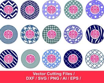 Circle Monogram Frames SVG / Chevron Monogram Frame / Monogram Frame svg, dxf, ai, eps, png / circle monogram frames  /