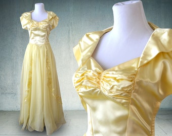 1940s Evening Gown Belle Beauty and the Beast in Yellow Satin and Chiffon Gold
