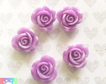 Purple Glitter Flower Cabochons- 5 pcs 22mm