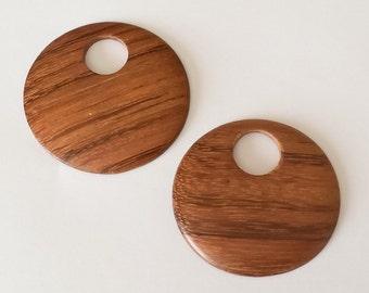 2 Bayong wood pendants, wood pendant, round wood pendant 40mm
