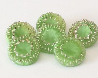 Lime green vintage glass button lot-6pc