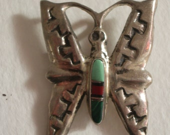 Butterfly Brooch/Pendnt in Sterling Silver with Inlaid Turquoise and Coral, circa 1940s