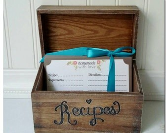 Recipe Box, with Recipe Cards, 4x6, bridal shower gift, Heritage, custom engraved (REC301CD)