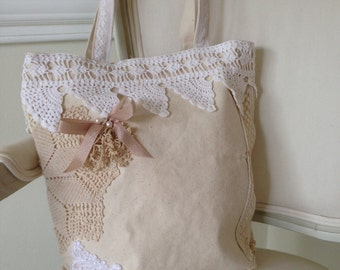 Bride's tote bag, Upcycled lace, ribbon, crochet and buttons