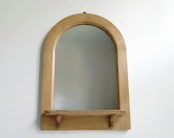 Pine Shelf Mirror, Reclaimed Arched Mirror, Wall Mirror, Decorative Wall Mirror, Rustic Decor, Wooden Frame Mirror, Handmade Pine Mirror