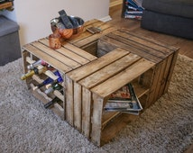 Crate Coffee Table; storage including wine rack and shelved units