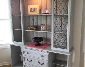 Sold - Grey Wood Planked Backing China Cabinet