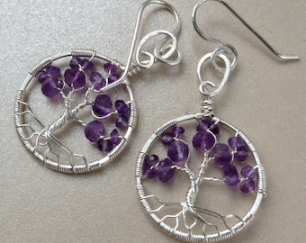 Amethyst Jewelry for Wife Flower Jewelry Tree-Of-Life Earring Wife Statement Jewelry February Birthstone Amethyst Tree of Life Earring Women