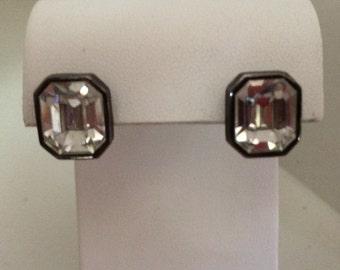 Art Deco Style Clear Glass Earrings