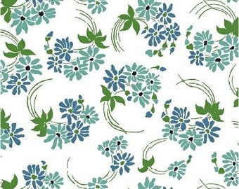 Teal and Blue Vintage Style Floral - Windham Hazel 40847-5 Cotton Quilting Fabric by the Yard - listing is for 1 Yard - DP