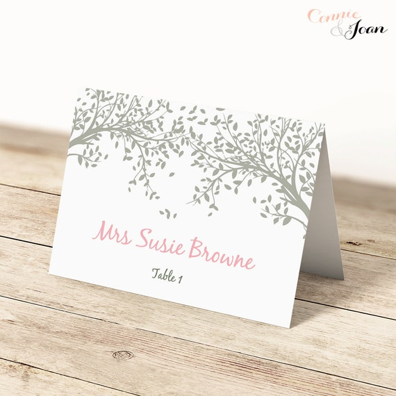 table place name cards editable flat and folded printable
