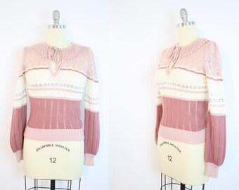 Vintage 70's 80's Pink Eyelet Sweater / Peter Pan Collar / Women's Size Small/Medium