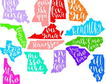 Cursive State Decal, Colorful State Decal