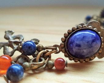Vintage Blue / Orange / Bronze Gypsy Earrings
