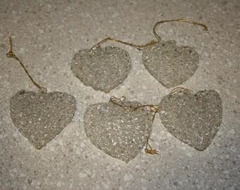 Set of 5 crystal heart ornaments