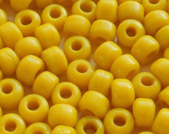 25 9mm Opaque Bright Yellow glass pony roller beads, large hole, big hole crow beads, Made in India, C6401