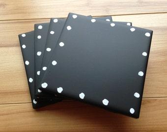 Chalkboard Drink Coasters, Polka Dot Chalkboard Coasters, Hand painted Chalkboard Coasters, Ceramic Tile Chalkboard Drink Coasters, Coasters