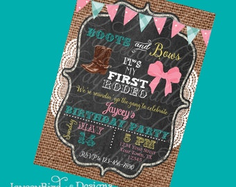 Boots and Bows First Rodeo Western Cowgirl Birthday Invitation Printable Invite Digital