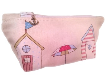 Beach Huts Make-Up Bag, Flat Cosmetics Bag, Lined Make-up Bag