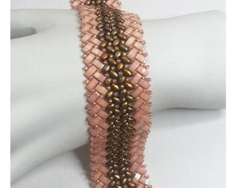 Knit Herringbone stiched mini super duo and half tila bead stitched bracelet