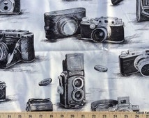 ANTIQUE CAMERA Fabric By the Yard, Half, Fat Quarter Black & White Gray Retro 100% Cotton Quilting Apparel Fabric BTY t3/1