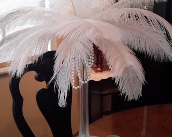 "Great Gatsby inspired 16"" EIffel Tower with Glitter Tip Ostrich Feathers"