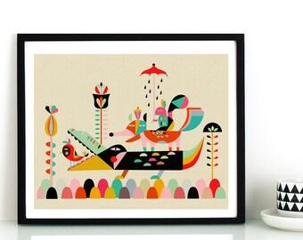 abstract animal,modern jungle art,crocodile fox squirrel decor,nursery art,modern nursery decor, bird wall art, print wall decor printable