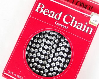 Vintage Silver Bead Chain Garland in Box
